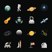 16 color icons representing different space related icons.