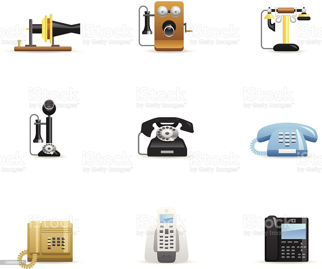 Color Icons - Telephone Evolution vector art illustration