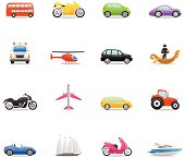 16 color icons representing different transportation machines.