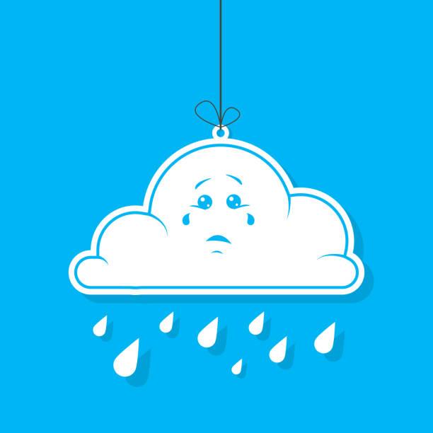 Farbe Abbildung Cartoon weiße Wolke mit Regen auf blauem Hintergrund – Vektorgrafik