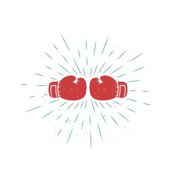 stockillustraties, clipart, cartoons en iconen met kleur illustratie in grunge getextureerde bokshandschoenen met stralen - bokshandschoen