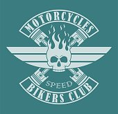 Color illustration of a skull in fire with wings and text. Biker club logo