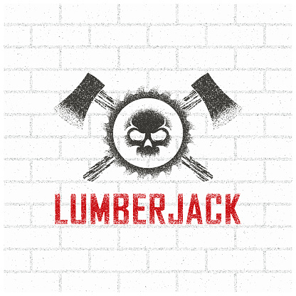 Color illustration of a skull, saw, crossed axes and text on a background with a brick wall.