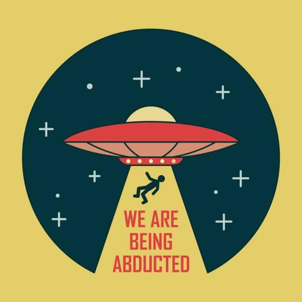stockillustraties, clipart, cartoons en iconen met kleur illustratie van een ufo-ster. cosmos ray met man en tekst. - ufo