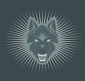Color illustration of a wolf in the rays. Illustration for tattoo and stickers.