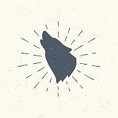 istock Color illustration of a wolf, rays on a colored background with grunge texture. 1253984002