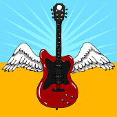 Color illustration of an electric guitar with wings. Music design. Hand drawn image.