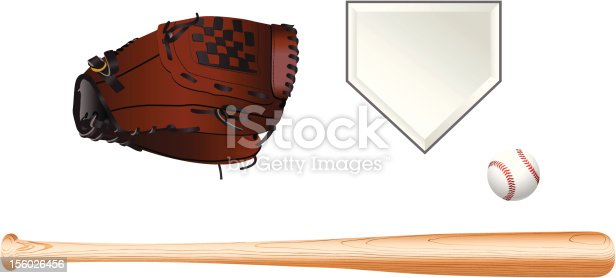 100% vector artwork of baseball equipment. A baseball bat, a baseball glove, a baseball, and a home plate.