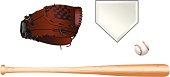 istock Color illustration of baseball equipment on white background 156026456