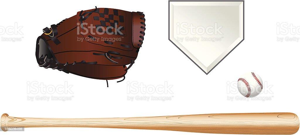 Color illustration of baseball equipment on white background vector art illustration
