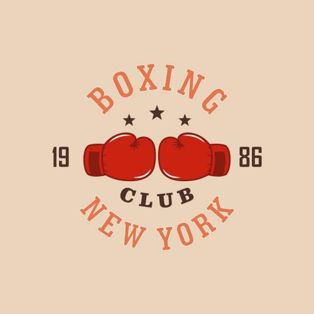 stockillustraties, clipart, cartoons en iconen met kleur illustratie van bokshandschoenen, tekst. boksen club logo - bokshandschoen