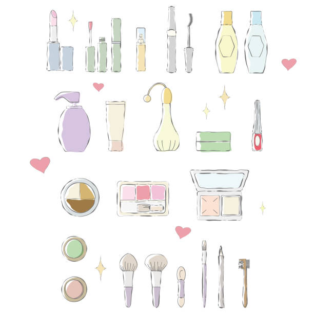 Color illustration of hand-drawn touch of makeup items. vector art illustration