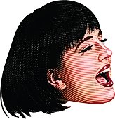 Color Illustration Of Woman's Face singing and laughing
