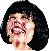 Color Illustration Of Woman's Face With happy Expression
