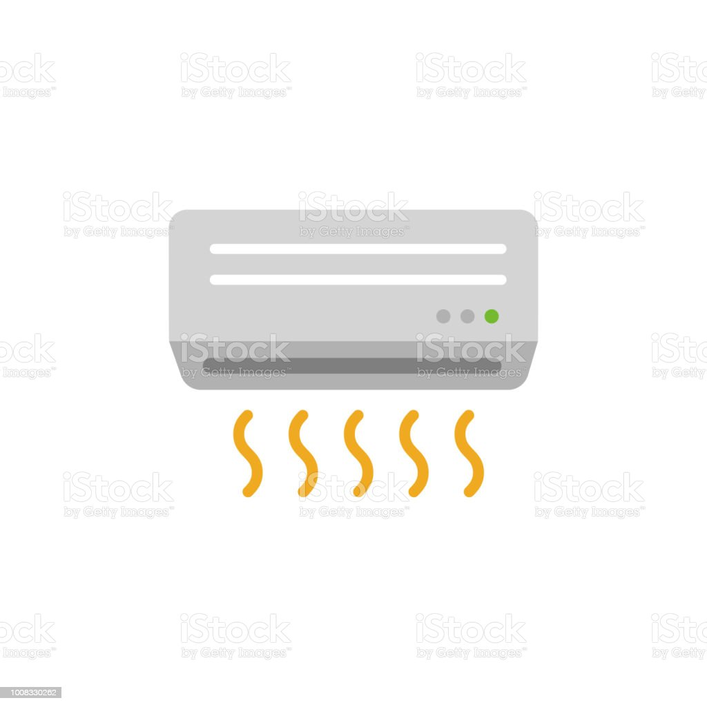 AC ( air conditioner) color illustration / out of order,not cool enough. vector art illustration