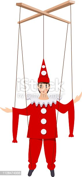 Color image of a doll of Pierrot on a white background. Puppet Piero character of the Italian comedy Delarque with ropes. Vector illustration