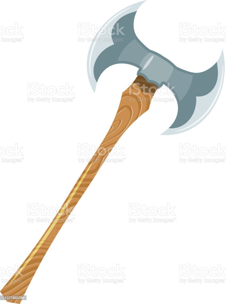 Color image of a viking ax on a white background. Vector illustration...