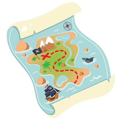 Color image of cartoon treasure map on a white background. Pirate map of treasure drawing. Decorative element for pirate party for kids. Vector illustration.