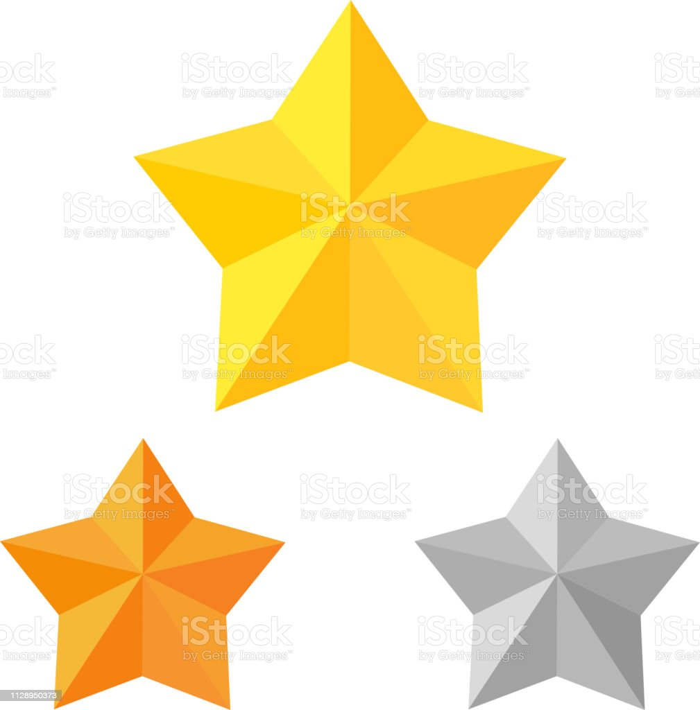 Color image of gold, bronze and silver stars on a white background....