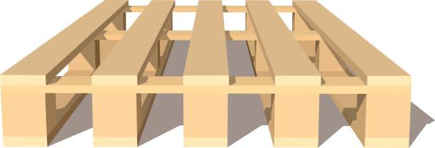 stockillustraties, clipart, cartoons en iconen met kleurenafbeelding van houten pallet op witte achtergrond geïsoleerde object van industrie vectorillustratie - pallet