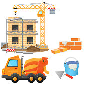Color images of build of house with elevating crane, concrete mixer and construction tools on a white background. Vector illustration set for kids.