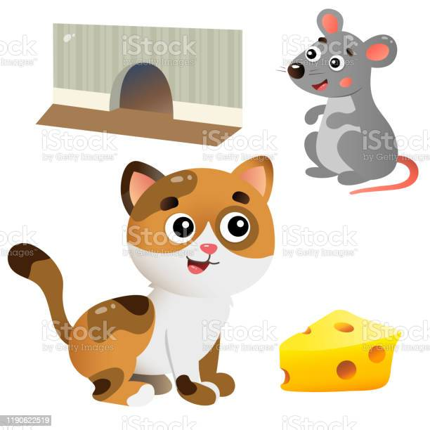 Color images of cartoon cat and mouse with cheese on white background vector id1190622519?b=1&k=6&m=1190622519&s=612x612&h=teo0l2nhoimrz9gacskovycqybk9i kafqcoj7ony6c=