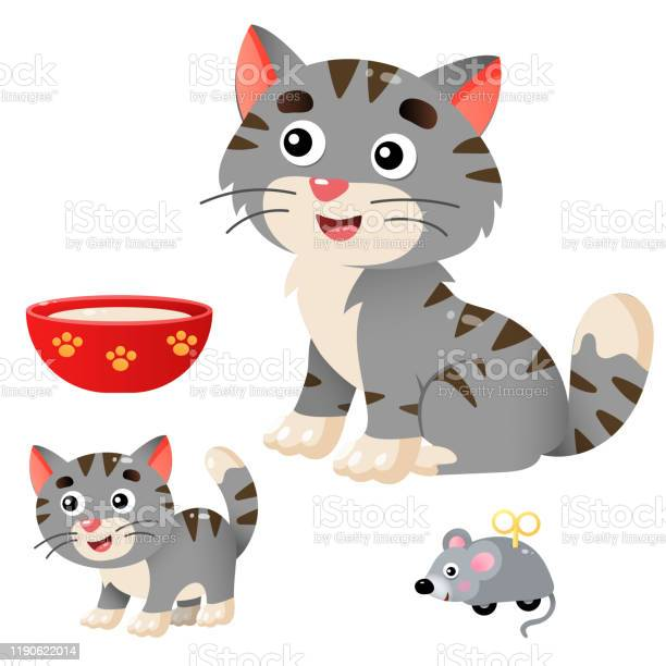 Color images of cartoon cat with kitten on white background pets vector id1190622014?b=1&k=6&m=1190622014&s=612x612&h=qfithhnujcnnwgtm62 zfs71cy abky60mifgjznky0=