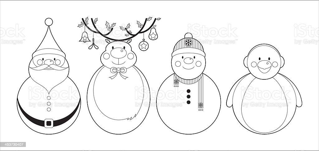 Color De Adorables Personajes De Navidad Illustracion Libre de ...