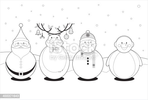 istock Color In Cute Christmas Characters 455321643