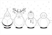 Color in black and white images of Santa Claus, Rudolph, Snowman and a Penguin.