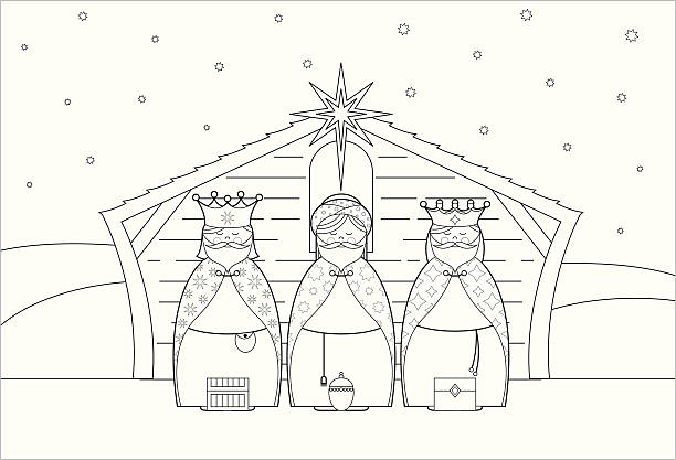 color in three christmas king character icons - clip art of a black and white barn stock illustrations, clip art, cartoons, & icons