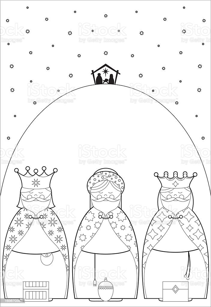 Color In Three Kings bearing Gifts royalty-free stock vector art