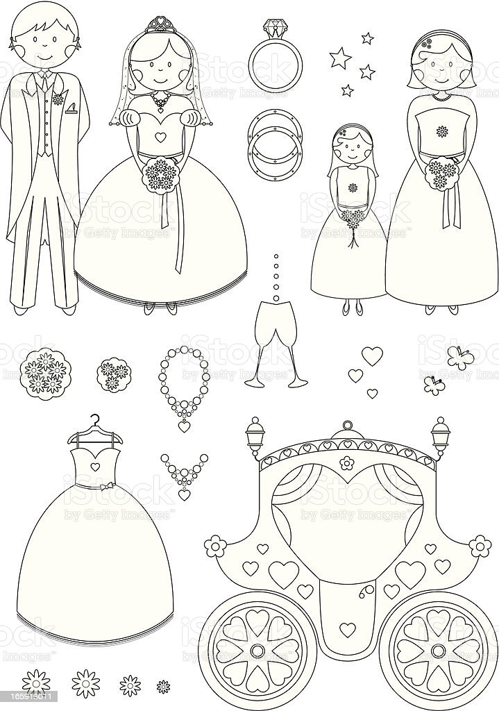 Color In Wedding Characters and Icons royalty-free stock vector art