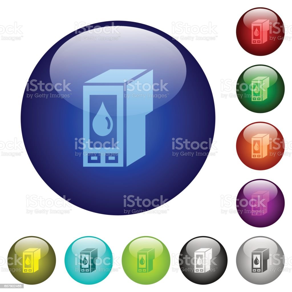 Color ink cartridge glass buttons vector art illustration