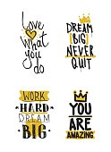 Color inspirational vector illustration set, motivational quotes