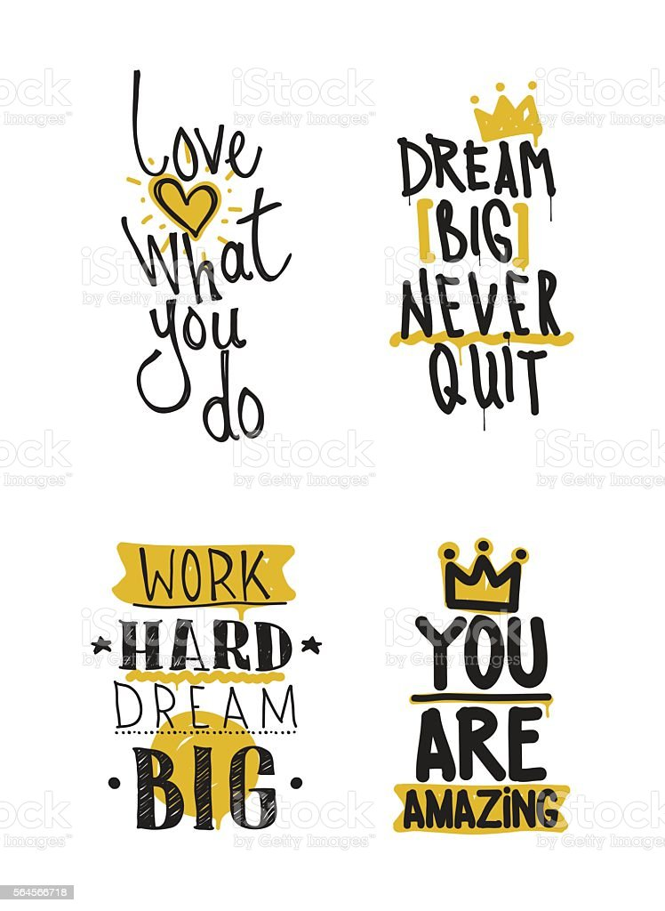 Color inspirational vector illustration set, motivational quotes - ilustración de arte vectorial