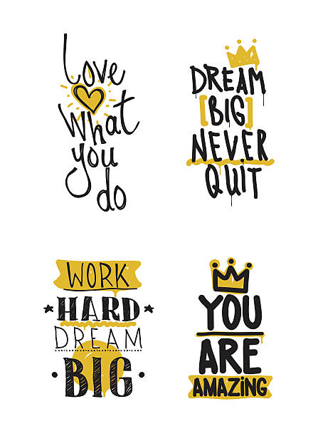 Color inspirational vector illustration set, motivational quotes ベクターアートイラスト