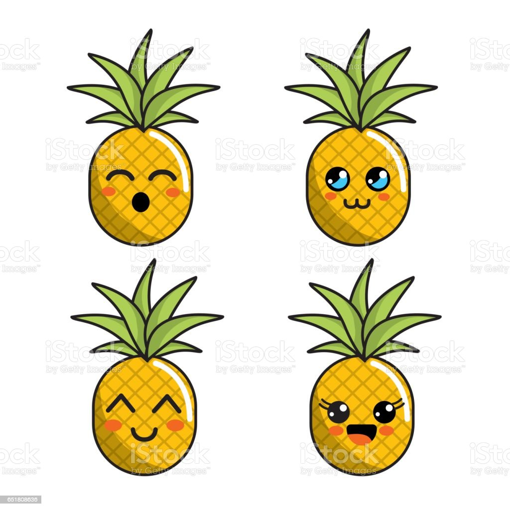 Color Kawaii Faces Pineapple Icon Stock Illustration