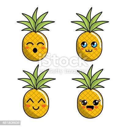Vetor de cone de abacaxi cor kawaii faces e mais banco de imagens de abacaxi istock - Image kawaii a imprimer ...