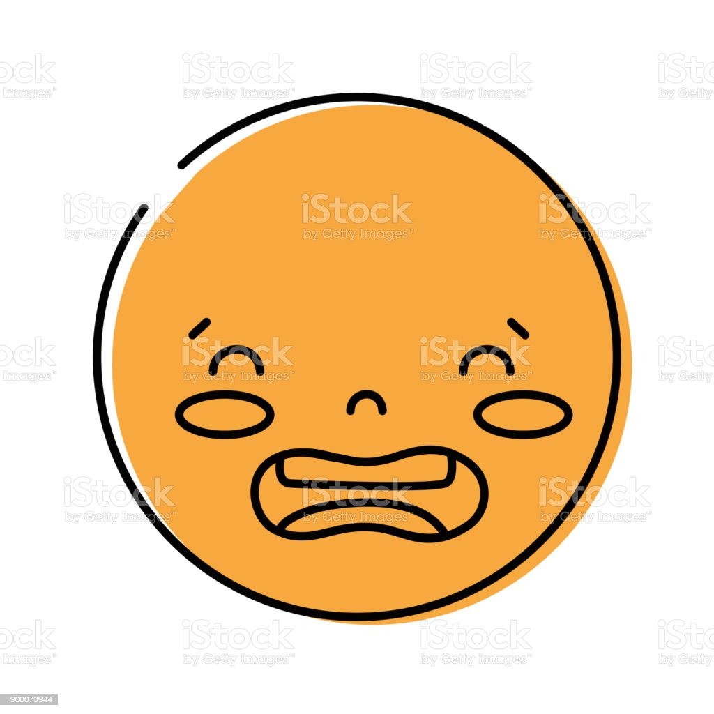 Color kawaii head with cute disgusted face illustration