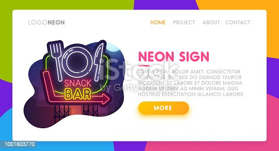 Color Landing Page. Mock up website. Home Page. Web banner templates. Social media, business app, seo and marketing. Theme food - Snack Bar. Neon sign style.