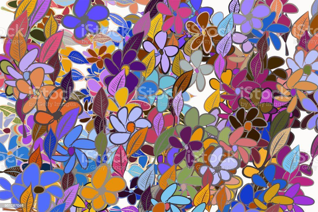 Color Leaves Flowers Illustrations Background Hand Drawn Canvas