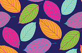 Color leaves pattern background - floral autumn set