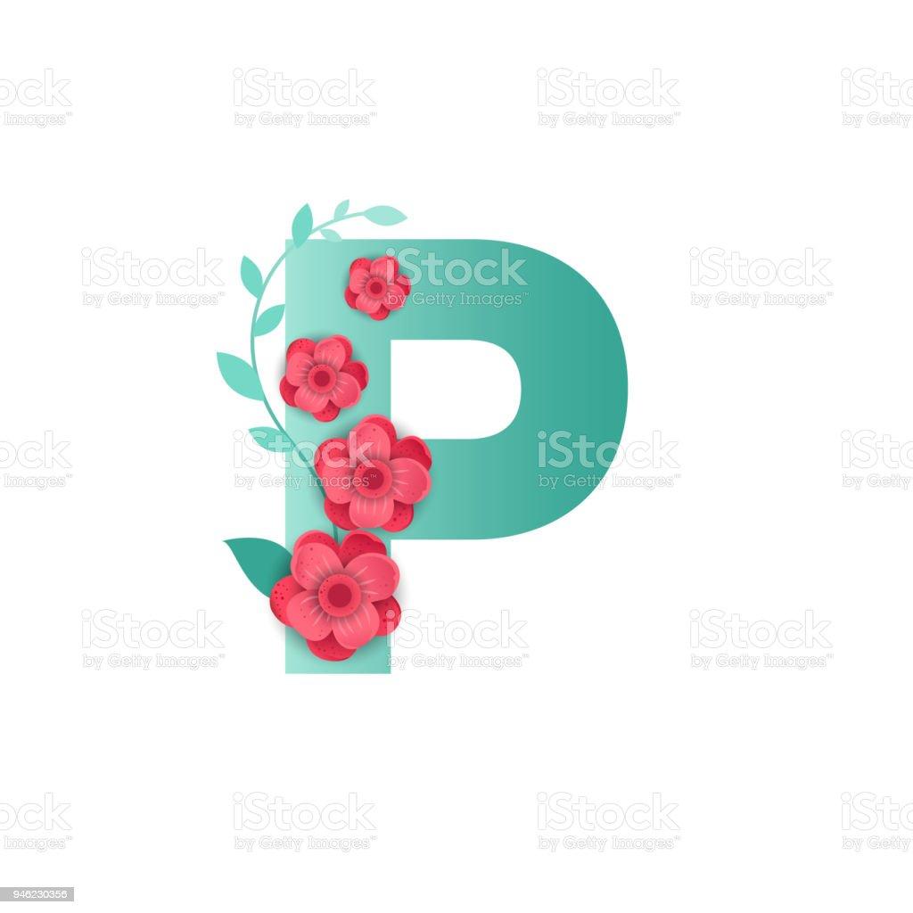 P Harfi Ile Güzel çiçekler Renk Stok Vektör Sanatı Alfabenin Daha