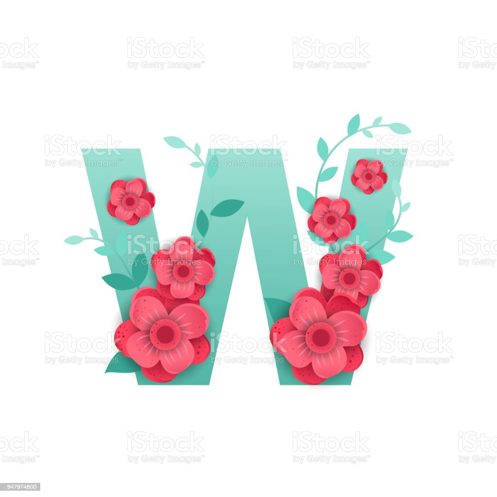 Color letter w with beautiful flowers stock vector art more images color letter w with beautiful flowers royalty free color letter w with beautiful flowers stock izmirmasajfo