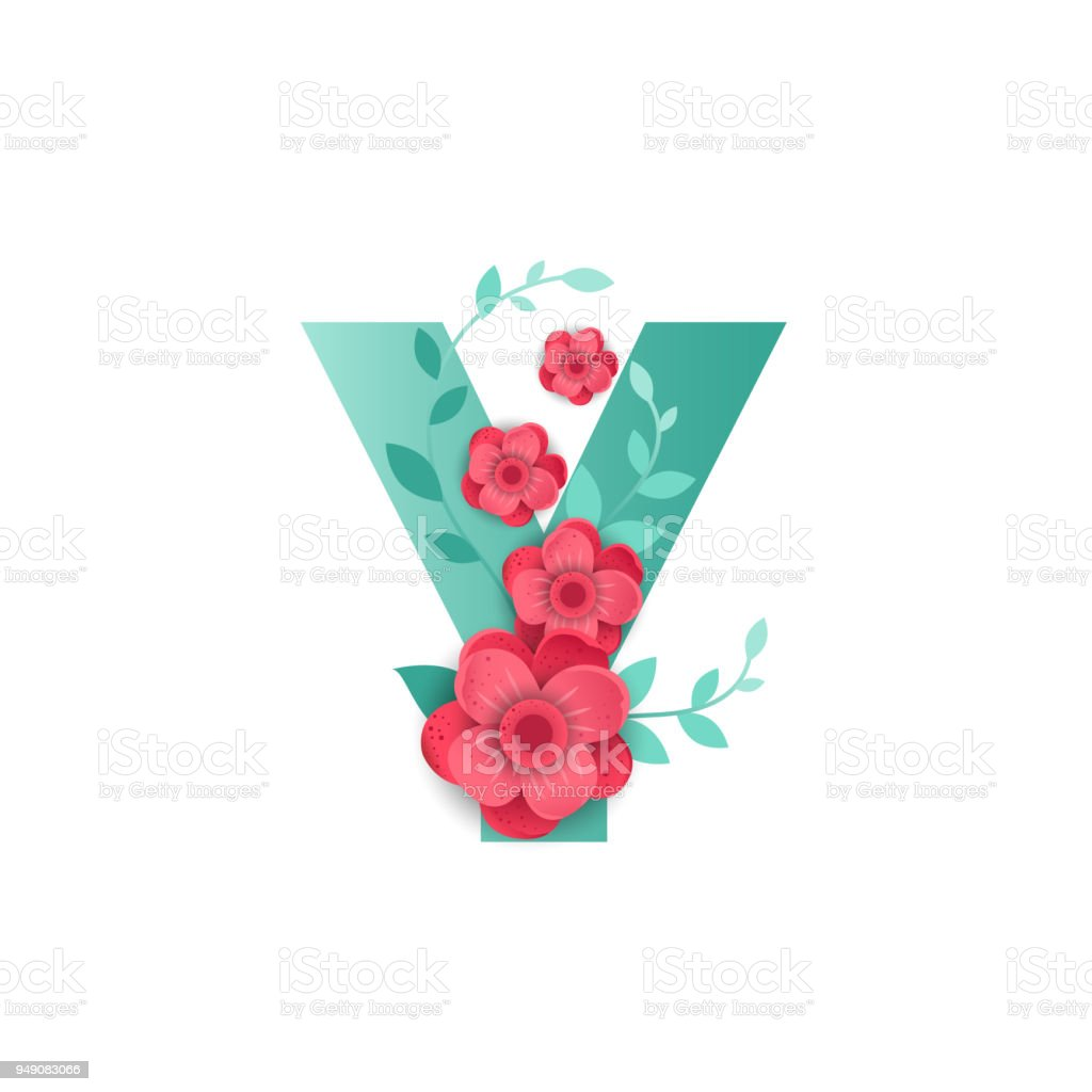 Color letter y with beautiful flowers stock vector art more images color letter y with beautiful flowers royalty free color letter y with beautiful flowers stock izmirmasajfo
