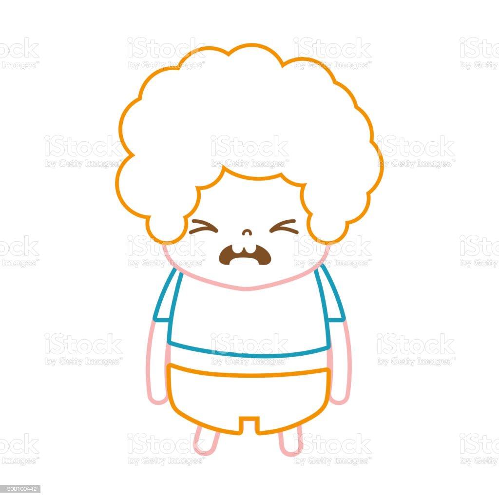 巻き髪と残念な顔と色ライン男の子 ベクターアートイラスト