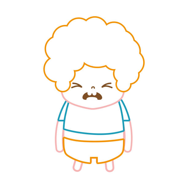 巻き髪と残念な顔と色ライン男の子 - 花のボーダー点のイラスト素材/クリップアート素材/マンガ素材/アイコン素材
