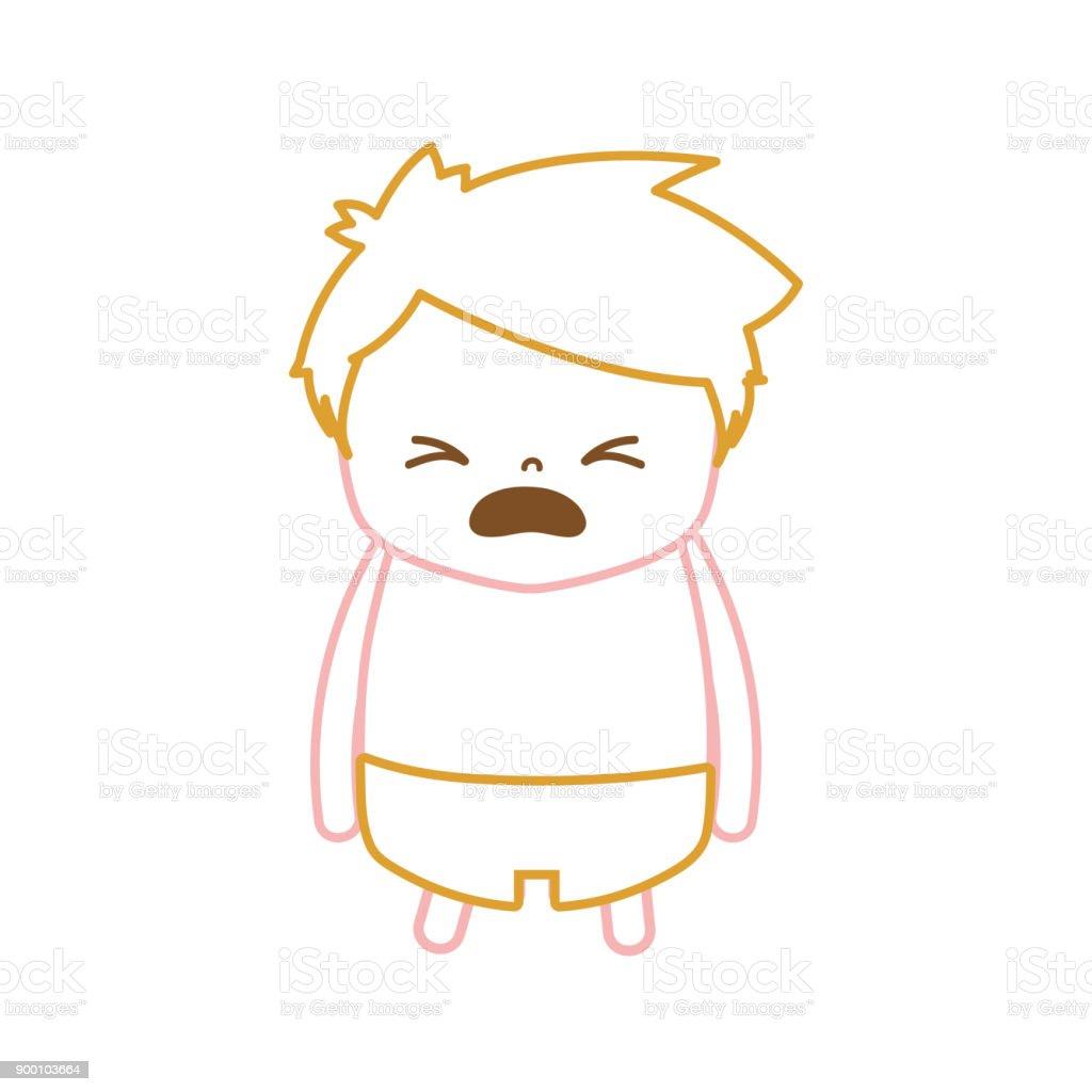 髪型のデザインと哀れみの顔で色ライン男の子 ベクターアートイラスト