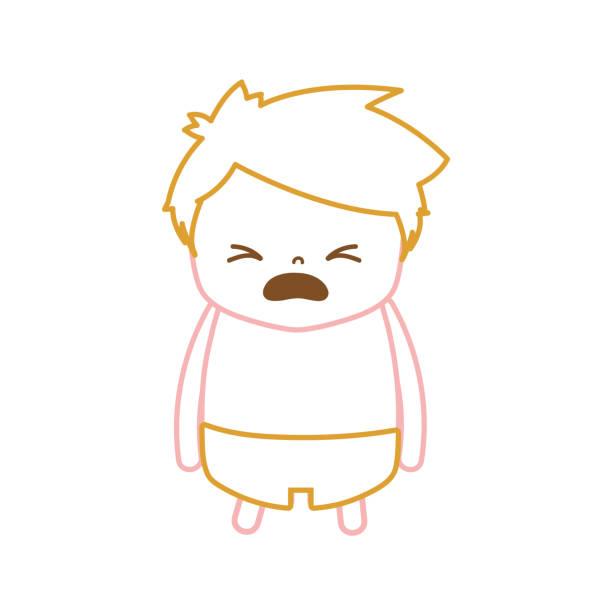髪型のデザインと哀れみの顔で色ライン男の子 - 花のボーダー点のイラスト素材/クリップアート素材/マンガ素材/アイコン素材